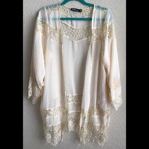 Cream Boho ASOS Lace Kimono